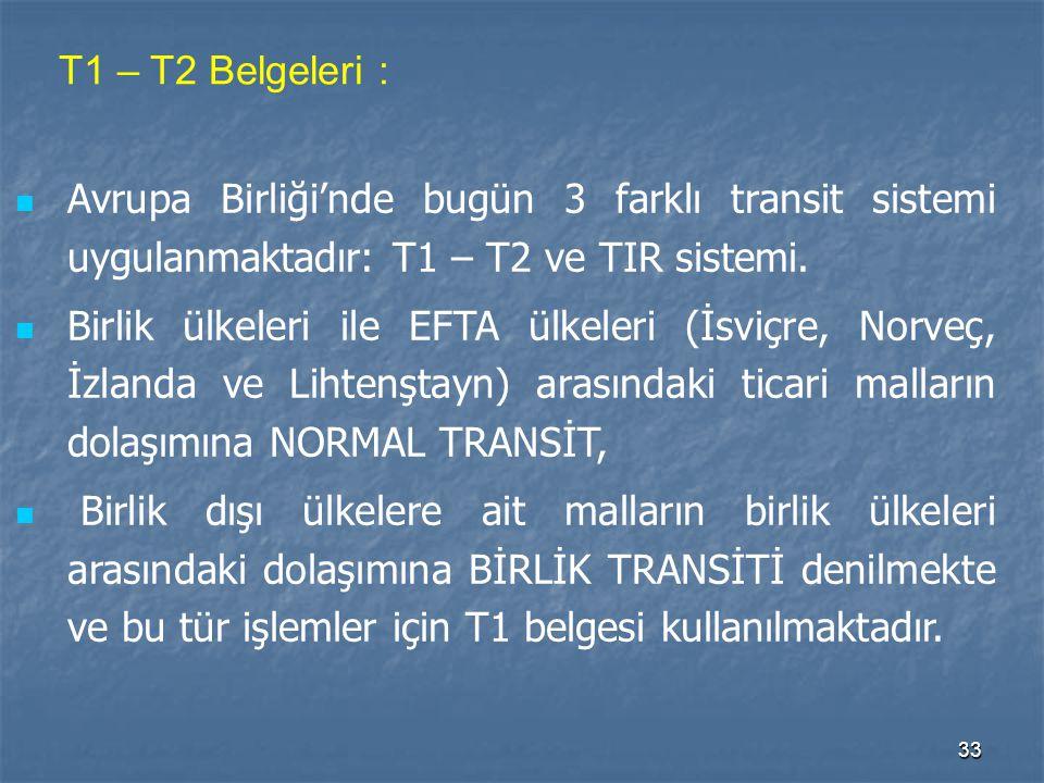 T1 – T2 Belgeleri : Avrupa Birliği'nde bugün 3 farklı transit sistemi uygulanmaktadır: T1 – T2 ve TIR sistemi.