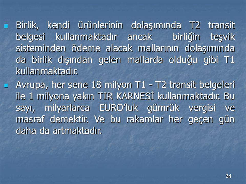 Birlik, kendi ürünlerinin dolaşımında T2 transit belgesi kullanmaktadır ancak birliğin teşvik sisteminden ödeme alacak mallarının dolaşımında da birlik dışından gelen mallarda olduğu gibi T1 kullanmaktadır.