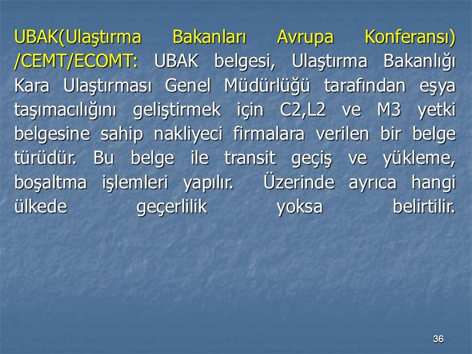 UBAK(Ulaştırma Bakanları Avrupa Konferansı) /CEMT/ECOMT: UBAK belgesi, Ulaştırma Bakanlığı Kara Ulaştırması Genel Müdürlüğü tarafından eşya taşımacılığını geliştirmek için C2,L2 ve M3 yetki belgesine sahip nakliyeci firmalara verilen bir belge türüdür.