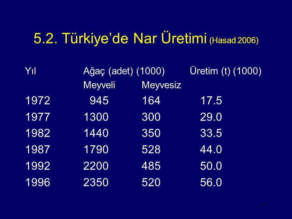 5.2. Türkiye'de Nar Üretimi (Hasad 2006)