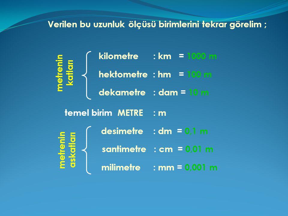 Verilen bu uzunluk ölçüsü birimlerini tekrar görelim ;