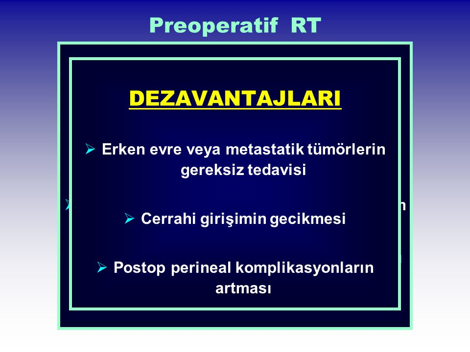 Preoperatif RT DEZAVANTAJLARI