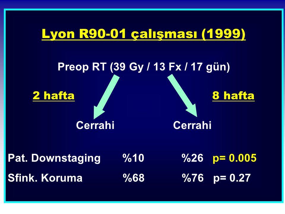 Lyon R90-01 çalışması (1999) Preop RT (39 Gy / 13 Fx / 17 gün)
