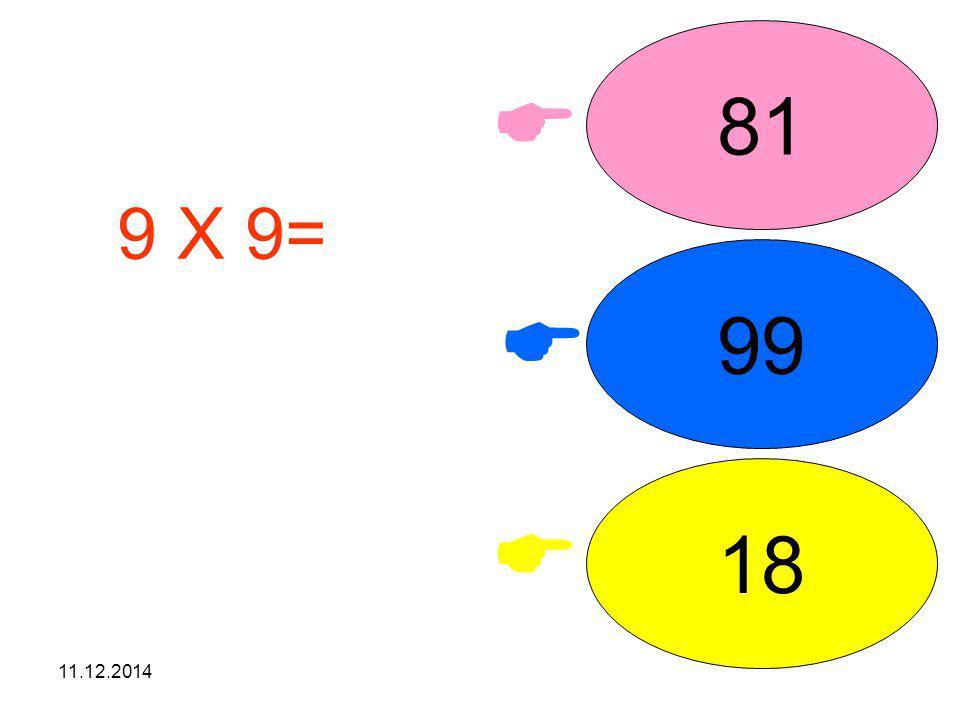 81  9 X 9= işleminin sonucunu seçiniz. 99  18  07.04.2017