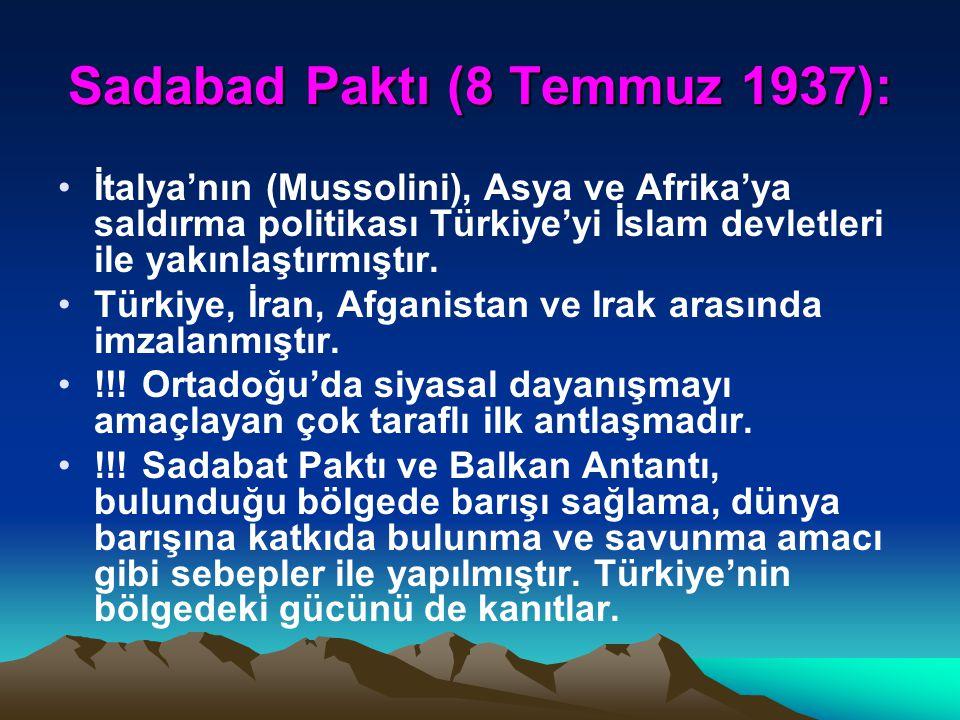 Sadabad Paktı (8 Temmuz 1937):