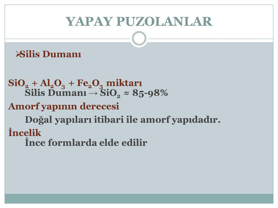 YAPAY PUZOLANLAR Silis Dumanı SiO2 + Al2O3 + Fe2O3 miktarı