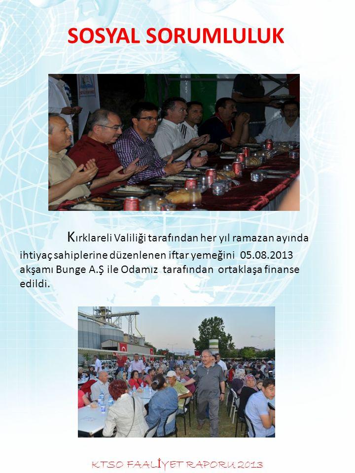 SOSYAL SORUMLULUK Kırklareli Valiliği tarafından her yıl ramazan ayında ihtiyaç sahiplerine düzenlenen iftar yemeğini 05.08.2013 akşamı Bunge A.Ş ile Odamız tarafından ortaklaşa finanse edildi.