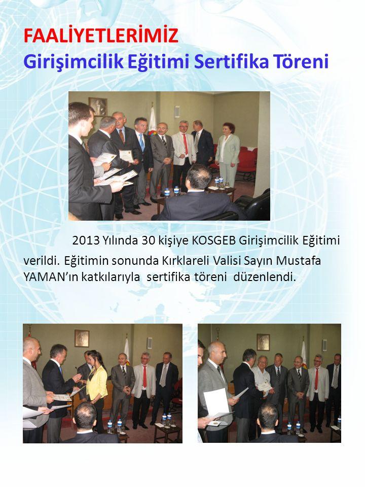 FAALİYETLERİMİZ Girişimcilik Eğitimi Sertifika Töreni