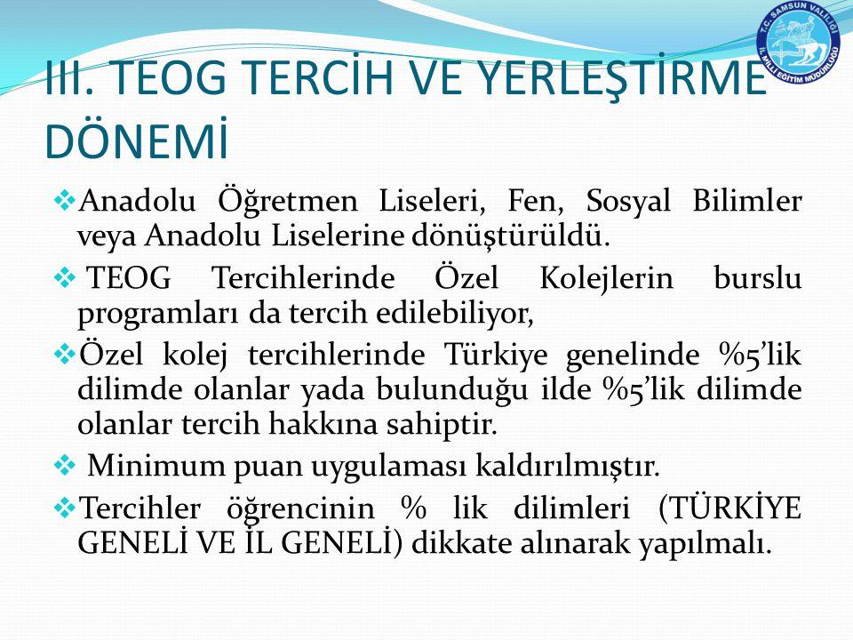 III. TEOG TERCİH VE YERLEŞTİRME DÖNEMİ