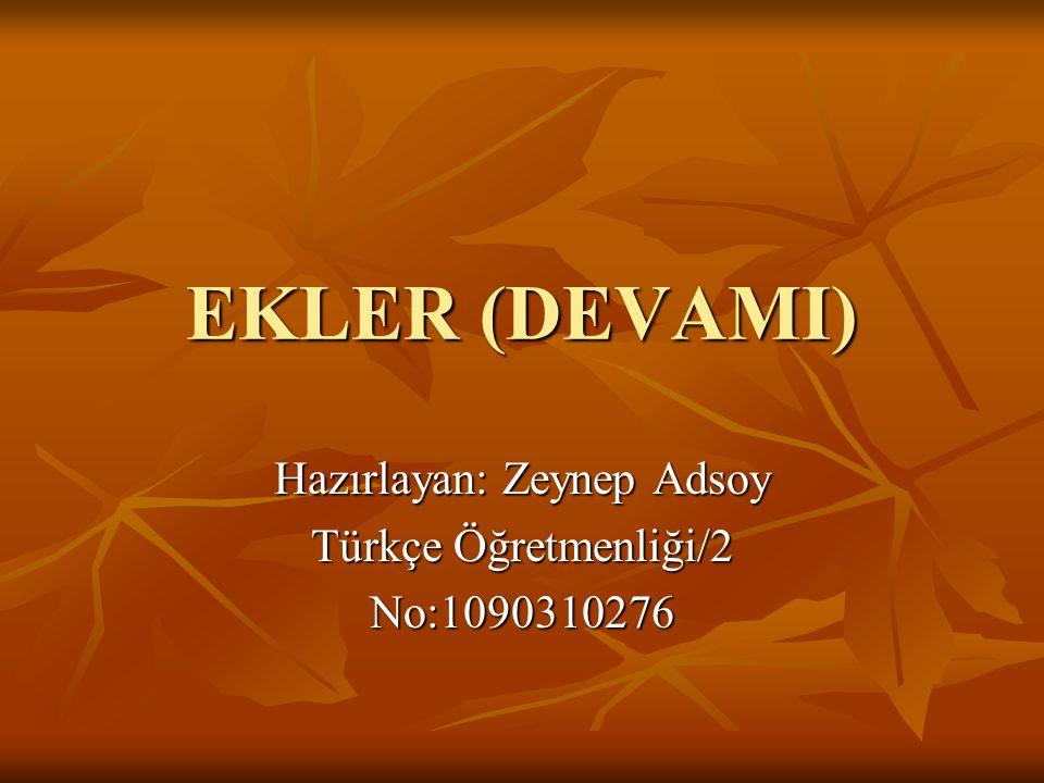 Hazırlayan: Zeynep Adsoy Türkçe Öğretmenliği/2 No:1090310276