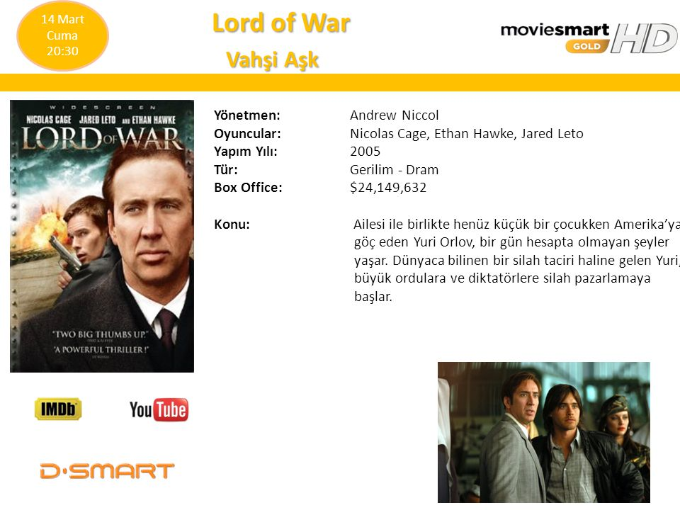 Lord of War Vahşi Aşk Yönetmen: Andrew Niccol