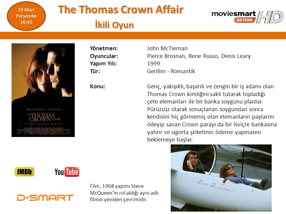 The Thomas Crown Affair İkili Oyun
