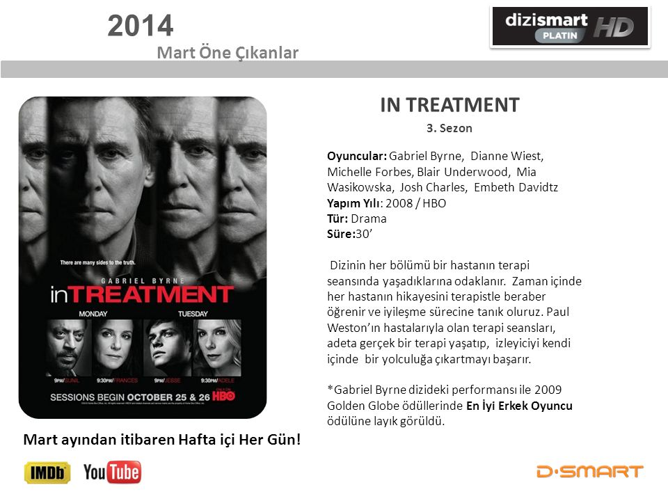 2014 IN TREATMENT Mart Öne Çıkanlar
