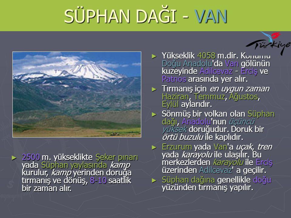 SÜPHAN DAĞI - VAN Yükseklik 4058 m.dir. Konumu Doğu Anadolu da Van gölünün kuzeyinde Adilcevaz - Erciş ve Patnos arasında yer alır.
