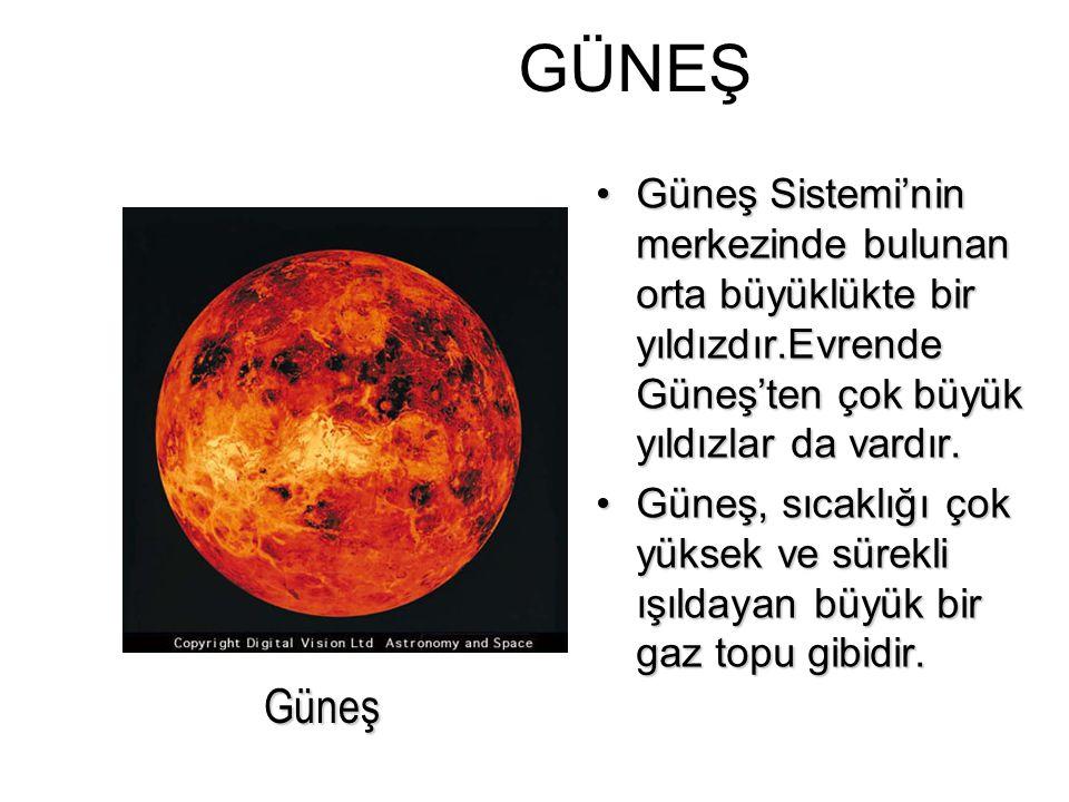 GÜNEŞ Güneş Sistemi'nin merkezinde bulunan orta büyüklükte bir yıldızdır.Evrende Güneş'ten çok büyük yıldızlar da vardır.