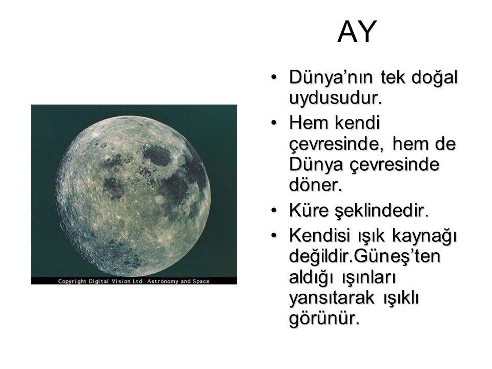 AY Dünya'nın tek doğal uydusudur.