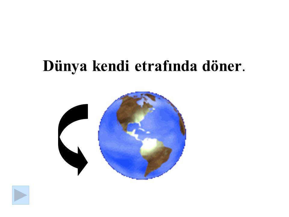 Dünya kendi etrafında döner.