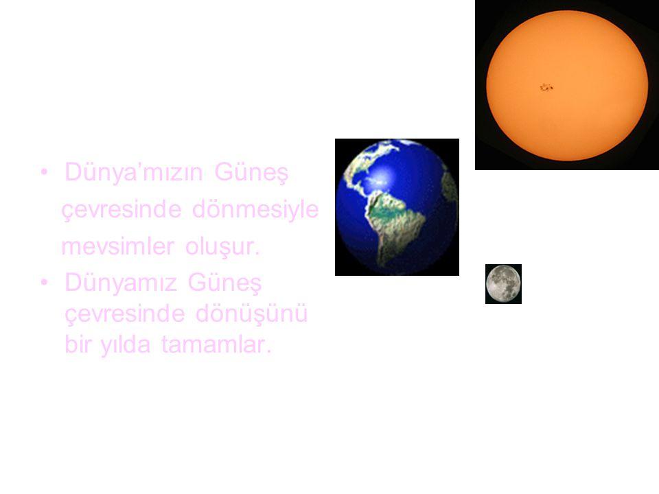 Dünya'mızın Güneş çevresinde dönmesiyle. mevsimler oluşur.