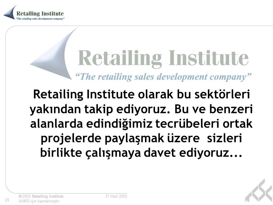 Retailing Institute olarak bu sektörleri yakından takip ediyoruz