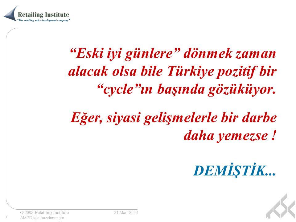 Eski iyi günlere dönmek zaman alacak olsa bile Türkiye pozitif bir cycle ın başında gözüküyor.