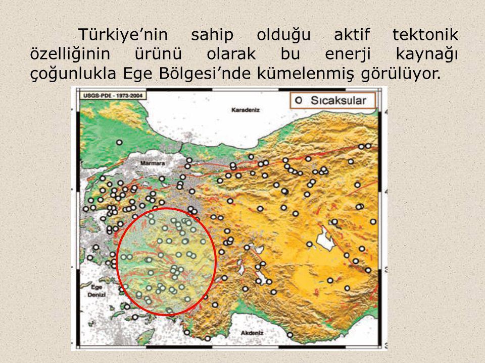 Türkiye'nin sahip olduğu aktif tektonik özelliğinin ürünü olarak bu enerji kaynağı çoğunlukla Ege Bölgesi'nde kümelenmiş görülüyor.