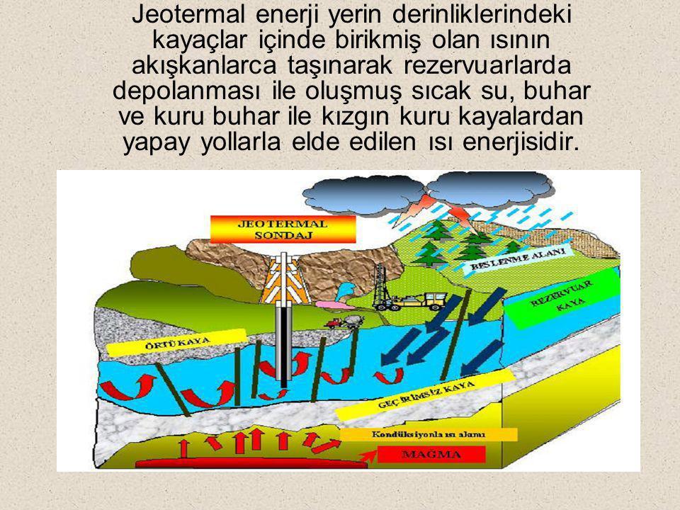 Jeotermal enerji yerin derinliklerindeki kayaçlar içinde birikmiş olan ısının akışkanlarca taşınarak rezervuarlarda depolanması ile oluşmuş sıcak su, buhar ve kuru buhar ile kızgın kuru kayalardan yapay yollarla elde edilen ısı enerjisidir.