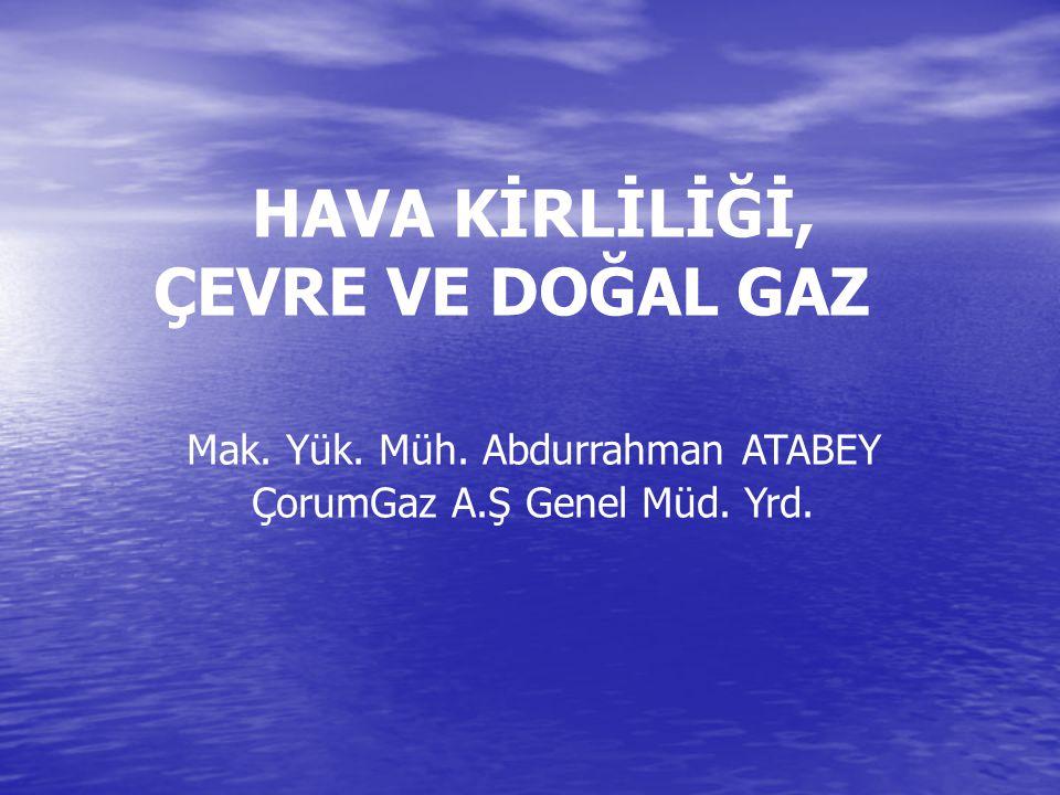 ÇEVRE VE DOĞAL GAZ HAVA KİRLİLİĞİ, Mak. Yük. Müh. Abdurrahman ATABEY