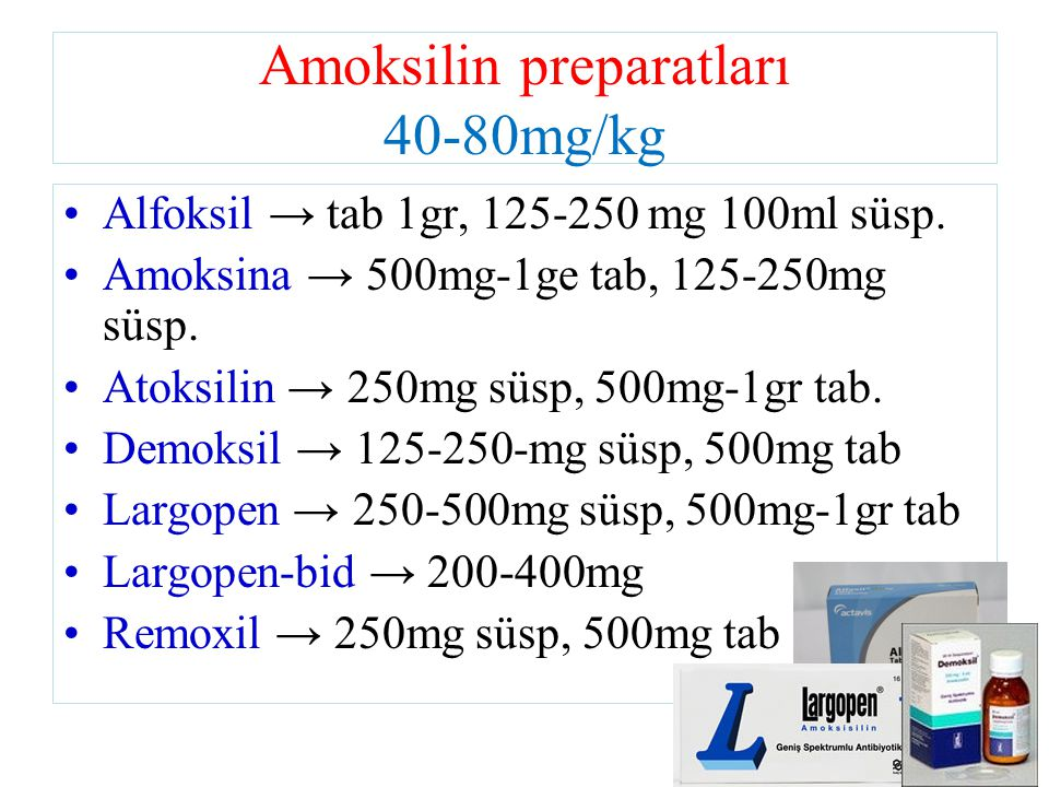 Amoksilin preparatları 40-80mg/kg