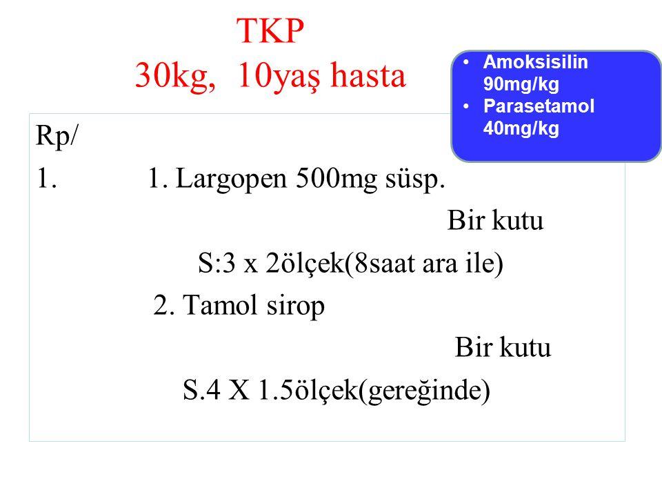 TKP 30kg, 10yaş hasta Rp/ 1. Largopen 500mg süsp. Bir kutu