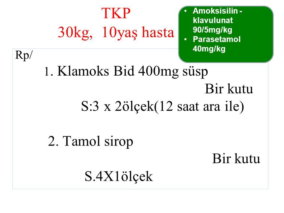 TKP 30kg, 10yaş hasta Bir kutu S:3 x 2ölçek(12 saat ara ile)