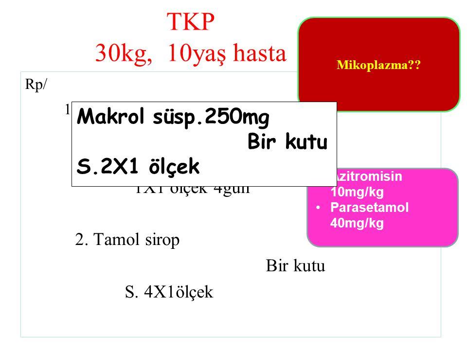 TKP 30kg, 10yaş hasta Makrol süsp.250mg Bir kutu S.2X1 ölçek Bir kutu