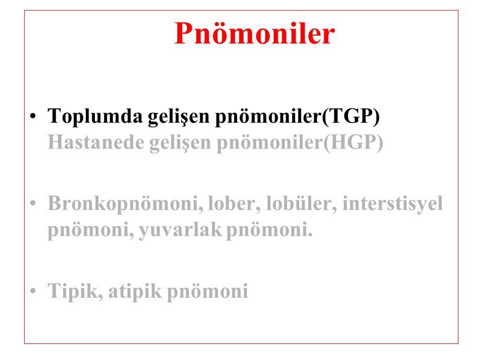 Pnömoniler Toplumda gelişen pnömoniler(TGP) Hastanede gelişen pnömoniler(HGP)
