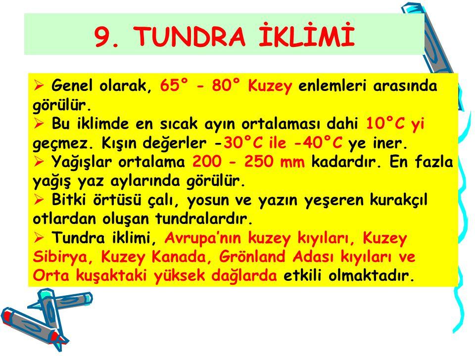 9. TUNDRA İKLİMİ Genel olarak, 65° - 80° Kuzey enlemleri arasında görülür.