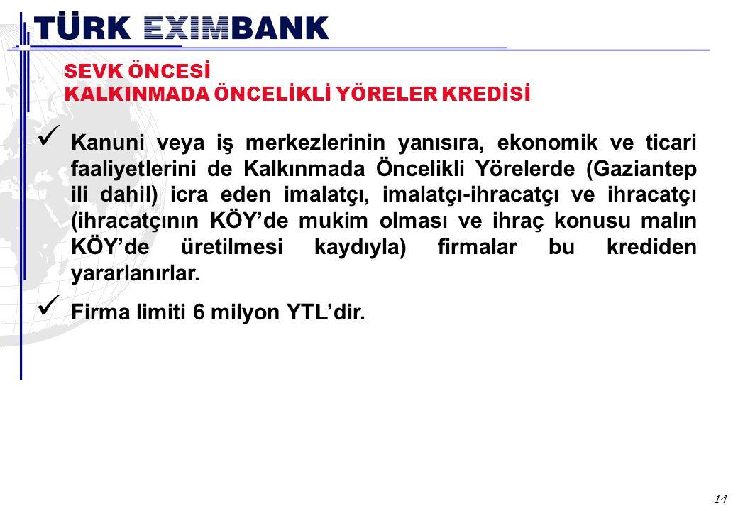 Aracı bankalar, kendilerine Türk Eximbank tarafından tahsis edilen TL ve döviz bazındaki Sevk Öncesi İhracat Kredileri Genel Limitlerinin en az % 30'unu KOBİ'lere kullandırmak zorundadır.