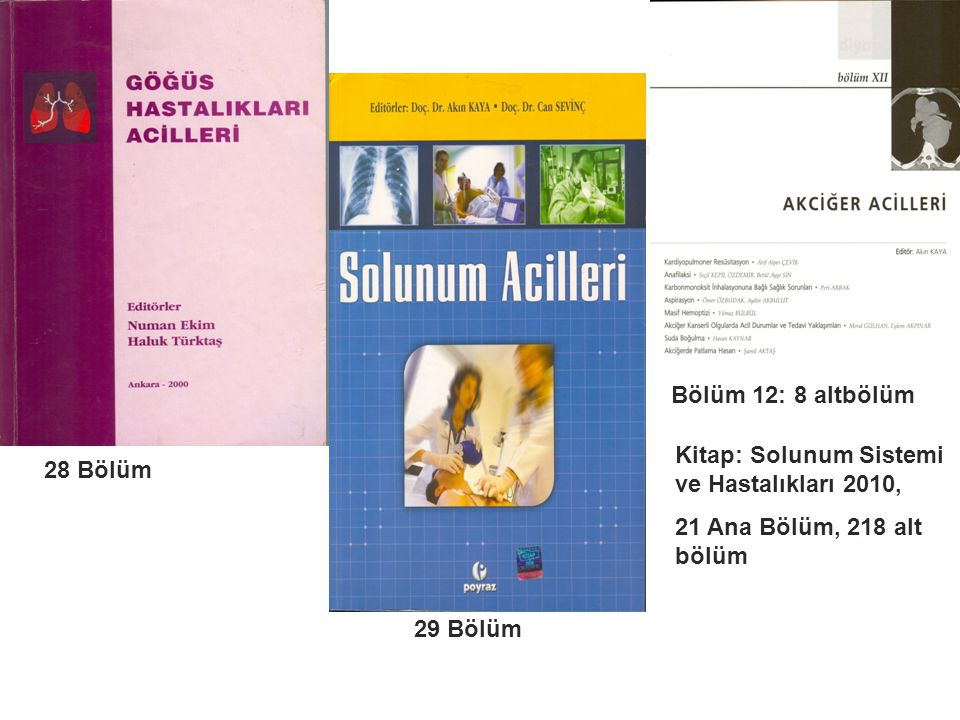 Bölüm 12: 8 altbölüm Kitap: Solunum Sistemi ve Hastalıkları 2010, 21 Ana Bölüm, 218 alt bölüm. 28 Bölüm.