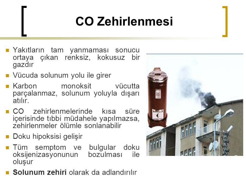 CO Zehirlenmesi Yakıtların tam yanmaması sonucu ortaya çıkan renksiz, kokusuz bir gazdır. Vücuda solunum yolu ile girer.