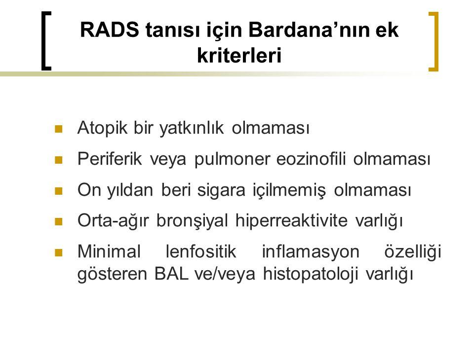 RADS tanısı için Bardana'nın ek kriterleri