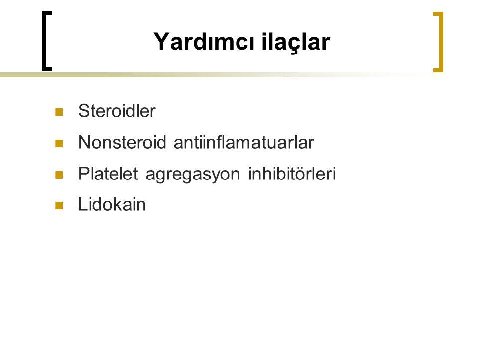 Yardımcı ilaçlar Steroidler Nonsteroid antiinflamatuarlar