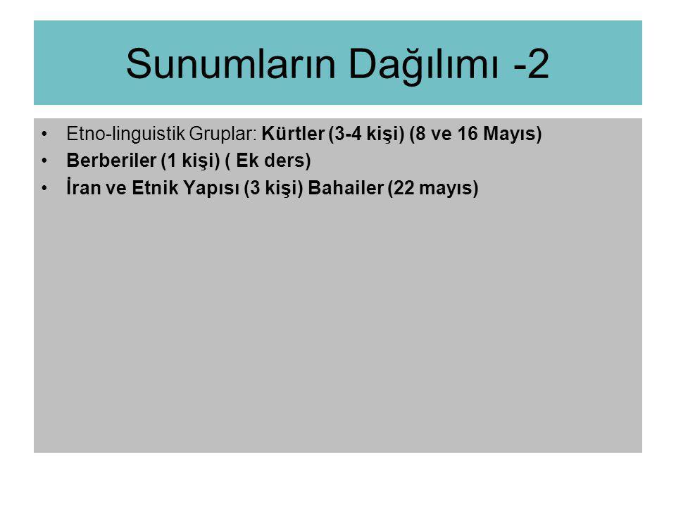 Sunumların Dağılımı -2 Etno-linguistik Gruplar: Kürtler (3-4 kişi) (8 ve 16 Mayıs) Berberiler (1 kişi) ( Ek ders)