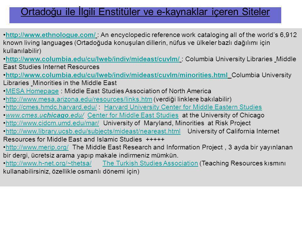 Ortadoğu ile İlgili Enstitüler ve e-kaynaklar içeren Siteler