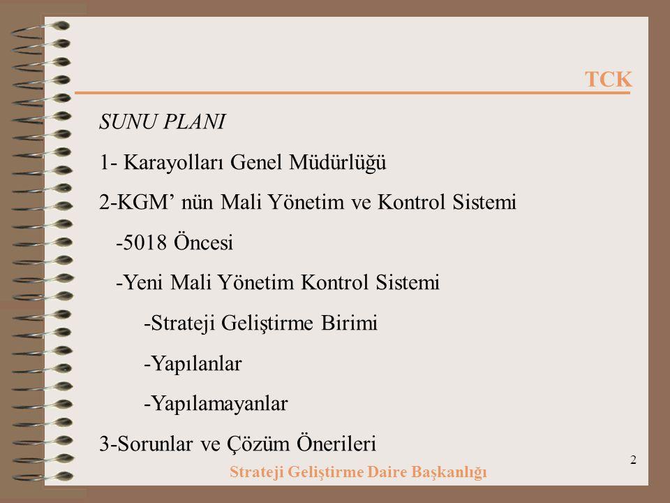 SUNU PLANI 1- Karayolları Genel Müdürlüğü. 2-KGM' nün Mali Yönetim ve Kontrol Sistemi. -5018 Öncesi.