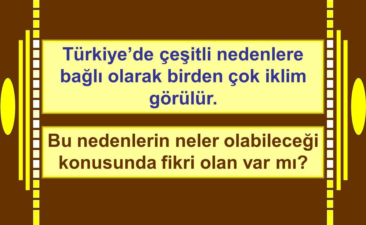 Türkiye'de çeşitli nedenlere bağlı olarak birden çok iklim görülür.