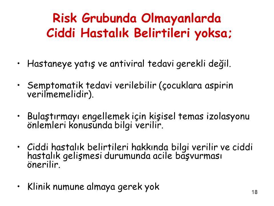 Risk Grubunda Olmayanlarda Ciddi Hastalık Belirtileri yoksa;
