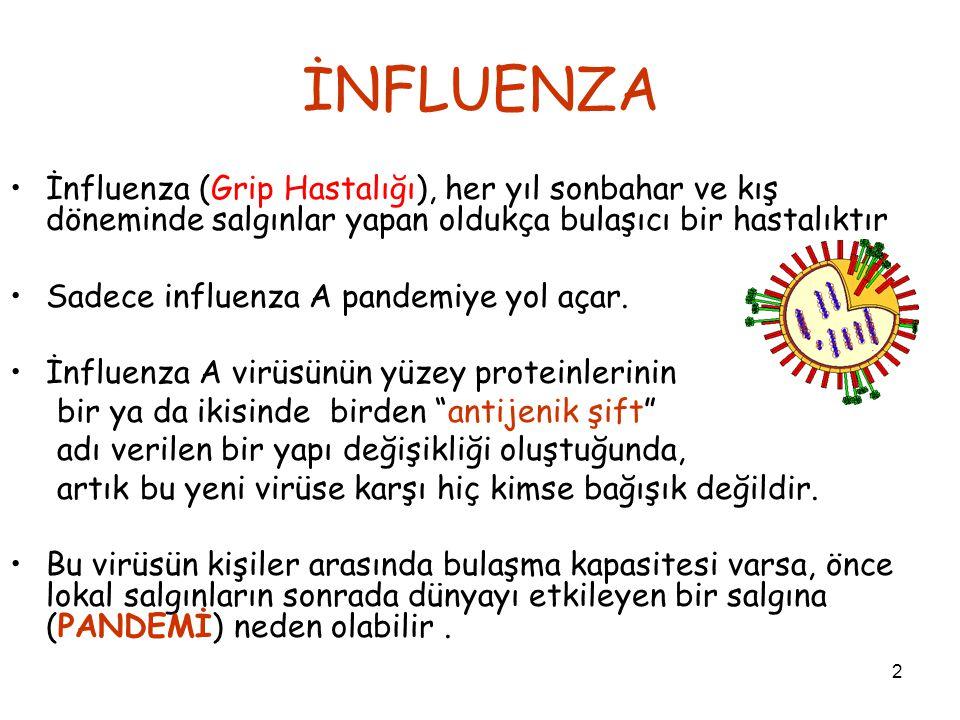 İNFLUENZA İnfluenza (Grip Hastalığı), her yıl sonbahar ve kış döneminde salgınlar yapan oldukça bulaşıcı bir hastalıktır.
