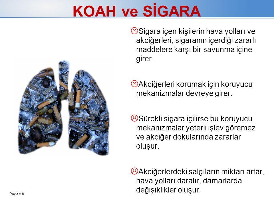 KOAH ve SİGARA Sigara içen kişilerin hava yolları ve akciğerleri, sigaranın içerdiği zararlı maddelere karşı bir savunma içine girer.