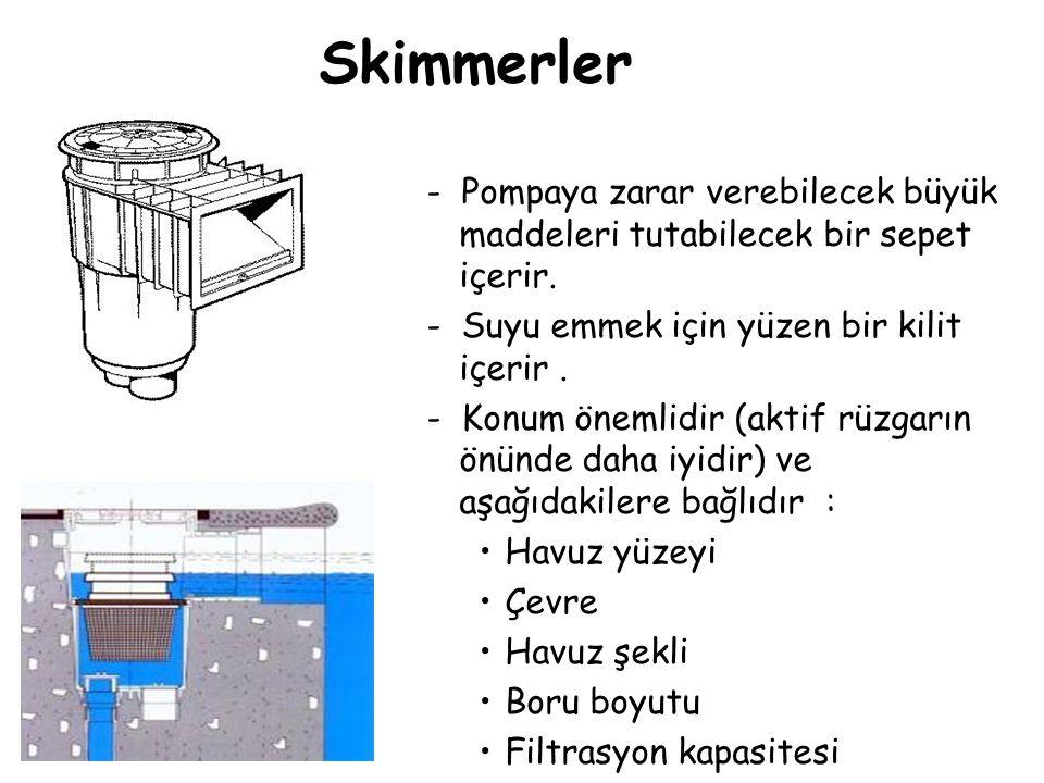 Skimmerler - Pompaya zarar verebilecek büyük maddeleri tutabilecek bir sepet içerir. - Suyu emmek için yüzen bir kilit içerir .