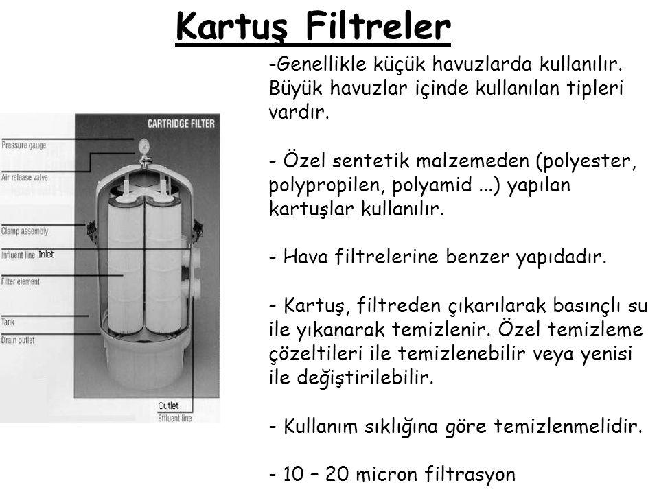 Kartuş Filtreler Genellikle küçük havuzlarda kullanılır. Büyük havuzlar içinde kullanılan tipleri vardır.