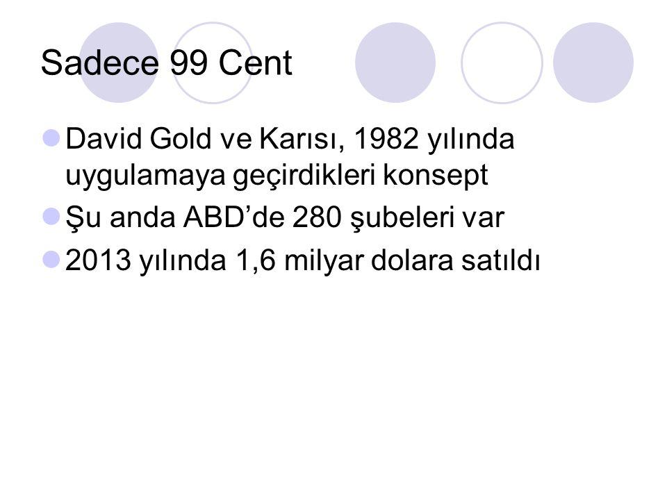 Sadece 99 Cent David Gold ve Karısı, 1982 yılında uygulamaya geçirdikleri konsept. Şu anda ABD'de 280 şubeleri var.