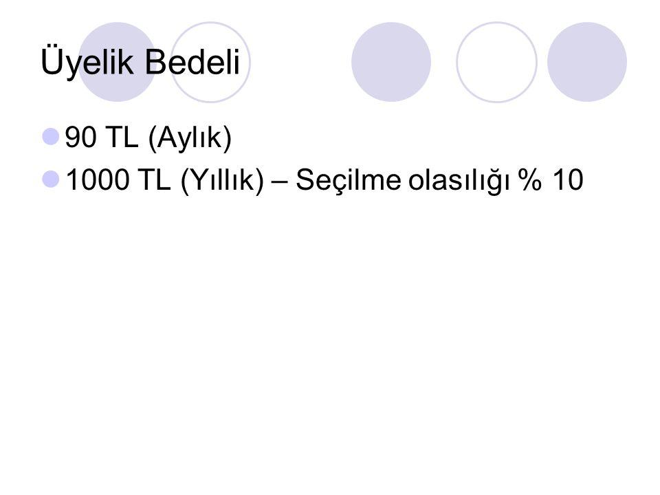 Üyelik Bedeli 90 TL (Aylık) 1000 TL (Yıllık) – Seçilme olasılığı % 10