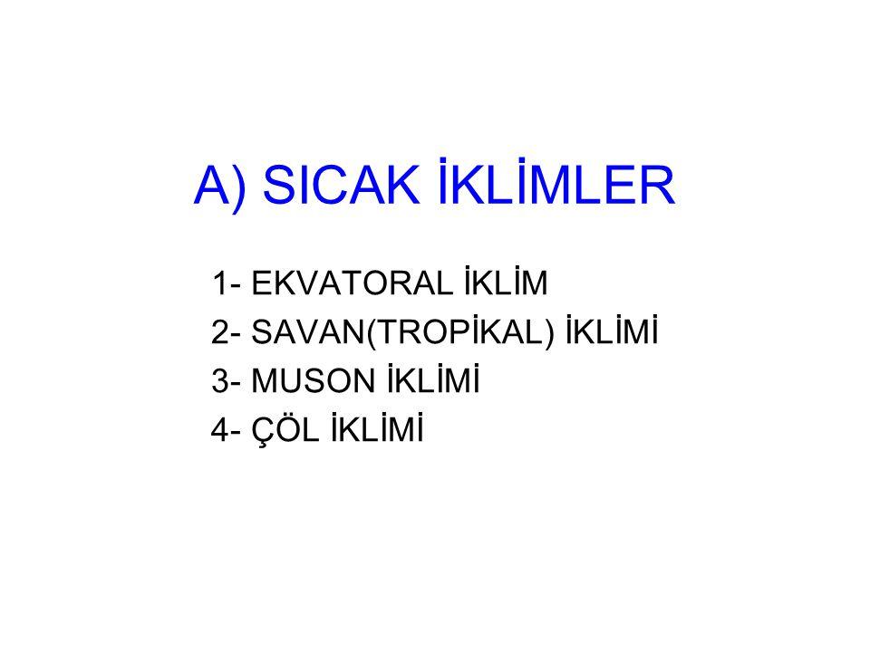 A) SICAK İKLİMLER 1- EKVATORAL İKLİM 2- SAVAN(TROPİKAL) İKLİMİ